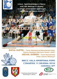 Plakat Piłka ręczna wkażdej szkole - zajęcia otwarte 11.12.